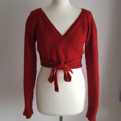 Wrapover Cardi with lace panel